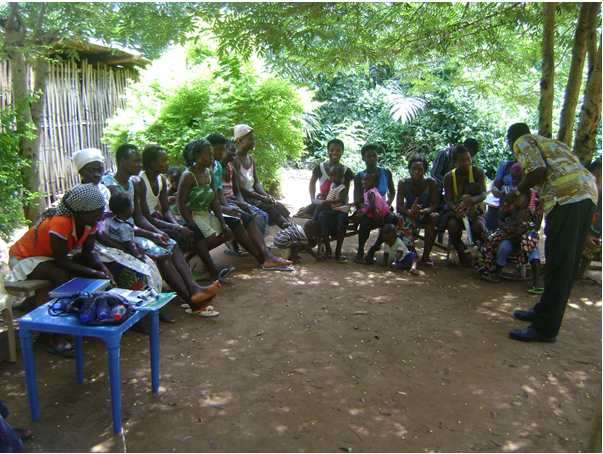 Teenage mothers of Abenawia in a training session led by a resource person