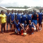 Girls and their Patron form Akropong Salem Schools ready to participate in football for development to enhance their confidence, assertiveness, hopefulness about their future, academic performance and good morals.